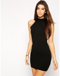Asos Exclusive Mini Dress With High Neck And Cut Out Back - Lyst