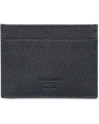 Giorgio Armani Hammered Leather Credit Card Holder - Black