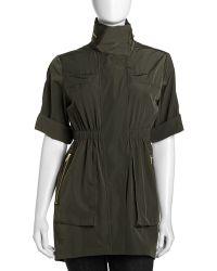 Ali Ro - Satin Anorak Jacket Charcoal 0 - Lyst