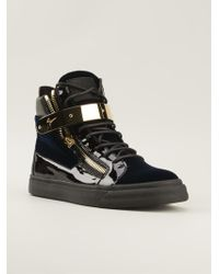 Giuseppe Zanotti Golden Strap Hi Top Sneakers - Lyst