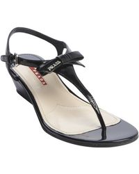 Prada Black Patent Leather Vernice Wedge Sandals - Lyst