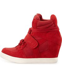 Ash Cool Canvas Suede Wedge Sneaker - Lyst