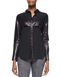 Iro Barper Leather-top Silk Blouse - Lyst
