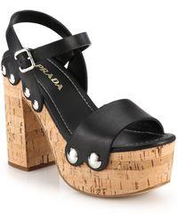 Prada Montana Cork-Heeled Platform Leather Sandals - Lyst