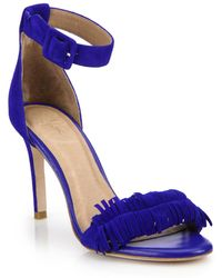 Joie Pippi Fringed Suede Sandals blue - Lyst