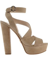 Prada Beige Sandals - Lyst