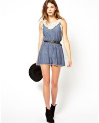 Pepe Jeans Printed Romper with Crochet Top - Blue