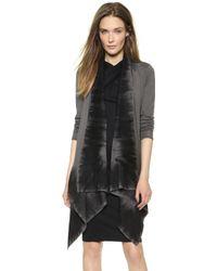 Donna Karan New York Long Sleeve Drape Front Sweater Slate - Lyst