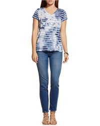 Two By Vince Camuto Painterly Blotches Stripe V-neck Tee - Blue