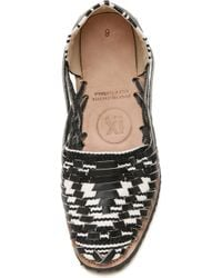 Ix Style Woven Leather Huarache Flats - Black/white