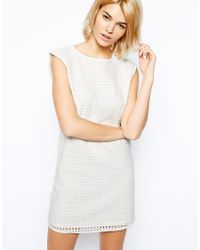 Mango - Broderie Anglaise Shift Dress - Lyst