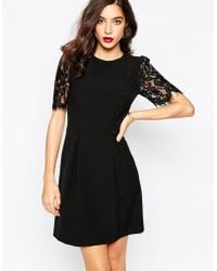 Warehouse Lace Sleeve Button Front Dress - Black