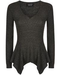 Lanvin Gray Peplum Sweater - Lyst