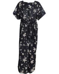 Draw In Light Black Illustrated Banana Leaf Print Kimono Dress By - Lyst