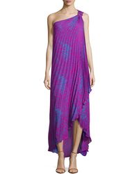 Halston Heritage One-Shoulder Pleated Gown - Lyst
