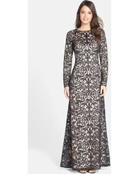 Tadashi Shoji Embroidered Tulle Long Sleeve Gown - Lyst