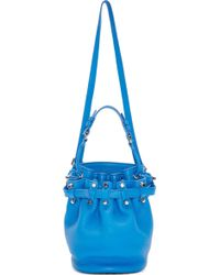 Alexander Wang Blue Leather Small Diego Bucket Bag - Lyst