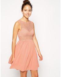 American Apparel Sleeveless Lace Chiffon Dress pink - Lyst