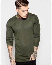ASOS | Longline Muscle Long Sleeve T-shirt With Raw Edge | Lyst