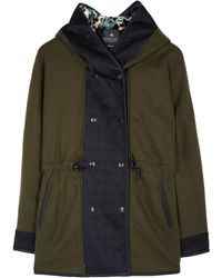 Maison Scotch Wool Coat with Fur Hood - Lyst