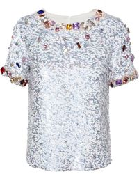 Ashish Sequinned Top With Jewel Embroidery - Lyst
