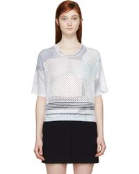 Kenzo Purple And Grey Knit Mesh Paper Print T_Shirt - Lyst