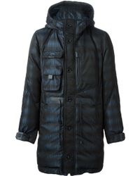 Moncler W Hooded Printed Coat - Lyst