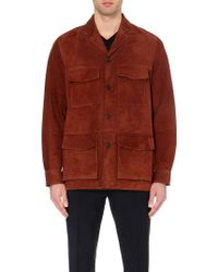 Façonnable Safari Four-Pocket Suede Jacket - For Men - Brown
