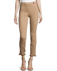 Donna Karan New York Second-Skin Pants W/ Frayed Cuffs - Lyst