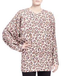 Chloé Long Sleeve Animal Print Blouse - Lyst