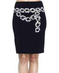 Moschino Cheap & Chic Skirt Pencil Crepes With Printed Chain - Lyst