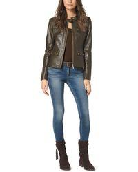 Michael Kors Four-Pocket Leather Jacket - Lyst
