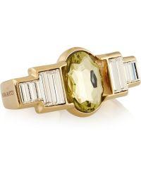 Nina Ricci Goldtone Crystal Twofinger Ring - Metallic