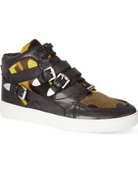 MICHAEL Michael Kors Camouflage Leather Hitop Trainers Yellow - Lyst