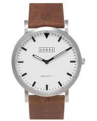 Shore Projects - 'poole' Leather Strap Watch - Lyst