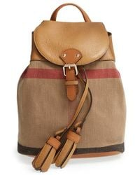 Burberry Check Print & Leather Mini Backpack brown - Lyst