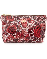 Tory Burch Floral Small Slouchy Cosmetic Bag - Lyst