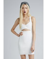 Forever 21 Cutout-Front Textured Bodycon Dress - Lyst