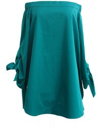 Tibi Kanji Green Satin Poplin Off-The-Shoulder Tunic green - Lyst