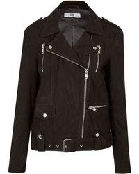 Hide - Black Suede Biker Jacket - Lyst