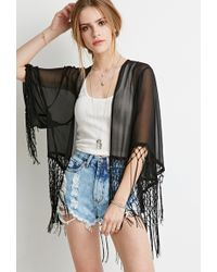 Forever 21 Embroidered Sheer Kimono - Lyst