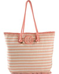 Tory Burch 'Marion' Striped Tote - Lyst