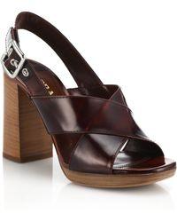 Prada Wooden-Heeled Leather Sandals - Lyst