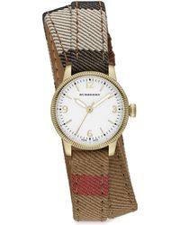 Burberry Utilitarian Goldtone Stainless Steel & House Check Double-Wrap Watch - Lyst