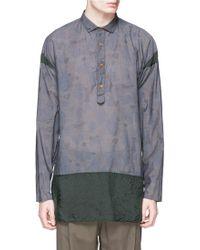 Kolor | Camouflage Print Contrast Hem Chambray Shirt | Lyst
