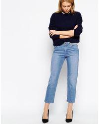 Asos Thea Premium Girlfriend Jeans In Santa Monica Blue - Lyst