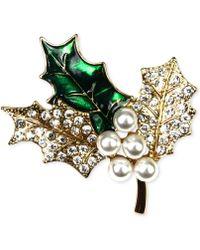 Jones New York - Gold-Tone Holly Branch Pin - Lyst