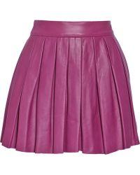 Alice + Olivia Pleated Leather Mini Skirt - Lyst