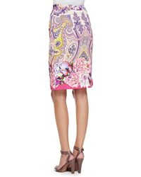 Etro - Sleeveless Embroidered Lace Top And Paisley Faux-Wrap Pencil Skirt - Lyst
