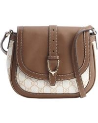 Gucci Maple Brown and Ivory Leather Ssima Accent Canvas Shoulder Bag - Lyst